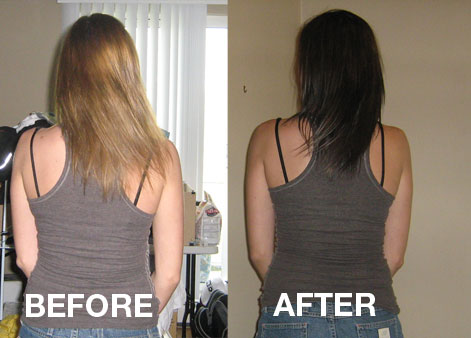 color of my hair, and the trim ow ow! Check out my before/after picture!