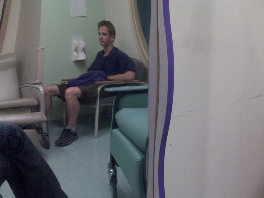 At the hospital, with the wonky mirror
