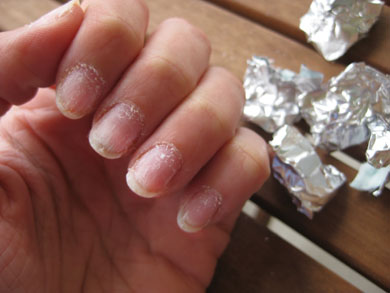 What you will need: Cotton balls; Aluminium foil; Acetone based nail