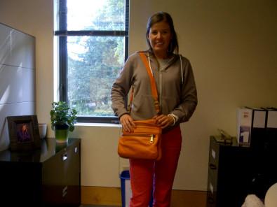 fossil purse in orange