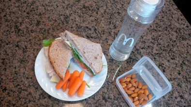 sandwich and almonds lunch
