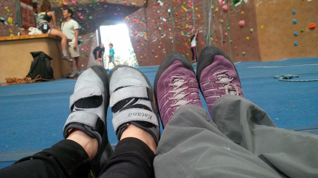 climbing shoe selfie