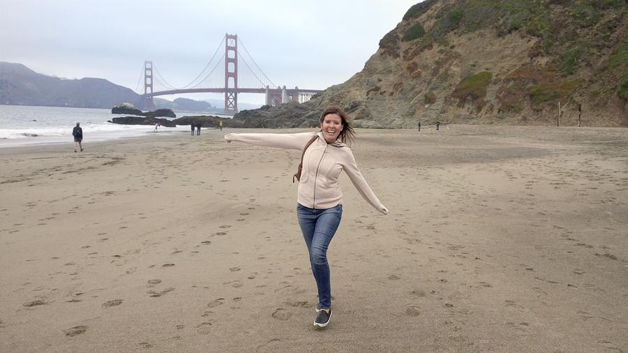 Nancy-running-Baker-Beach