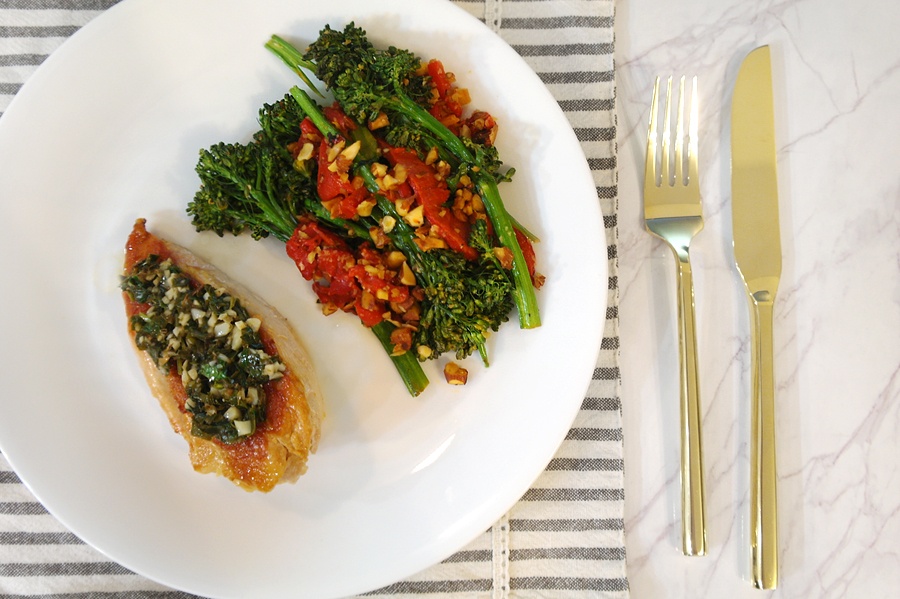 chicken salmoriglio with charred broccolini.