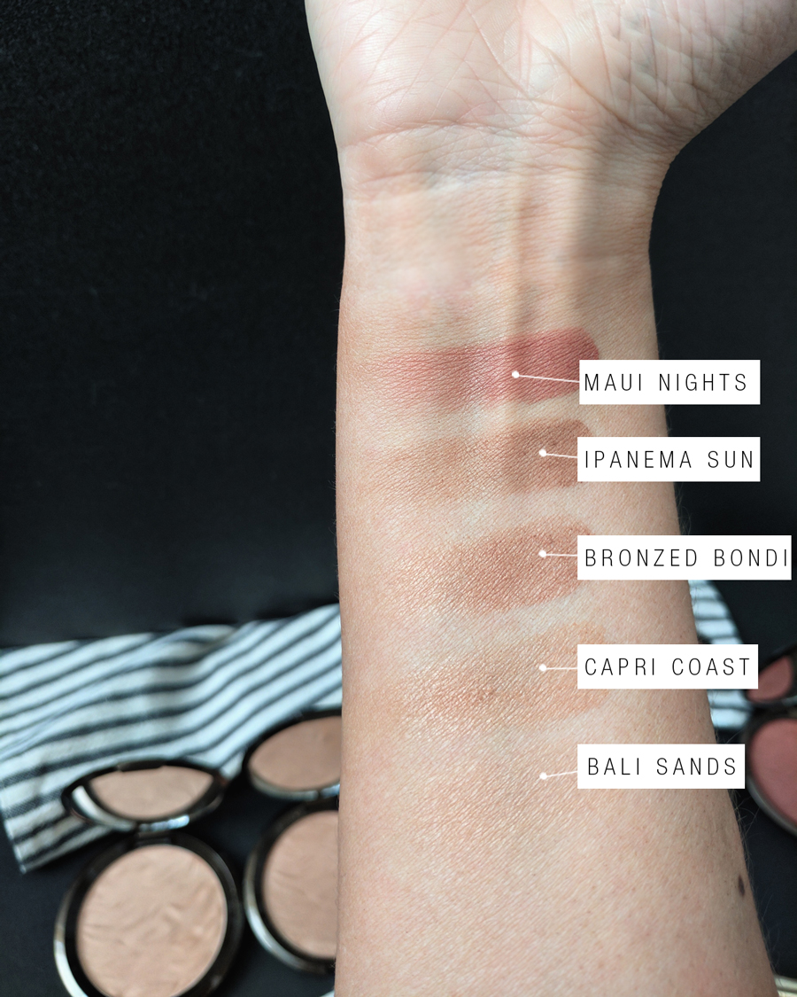 BECCA Cosmetics Sunlit Bronzer Collection swatches
